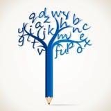 教育与字母表的铅笔结构树 免版税库存图片
