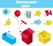 教育儿童比赛 孩子的相配的比赛活页练习题 由颜色的比赛 排序小孩的对象 皇族释放例证