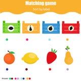 教育儿童比赛 孩子的相配的比赛活页练习题 由形状的比赛 排序小孩的对象 皇族释放例证