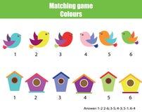 教育儿童比赛 由颜色的比赛 发现对鸟和鸟舍 库存例证