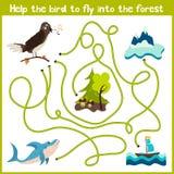 教育动画片将继续五颜六色的动物的逻辑方式家 在野生fo帮助鸟夜莺回到家 皇族释放例证