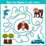 教育动画片将继续五颜六色的动物的逻辑方式家 帮助小的海豚在海洋游泳在家 符合 皇族释放例证
