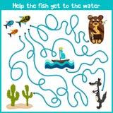 教育动画片将继续五颜六色的动物的逻辑方式家 帮助小的鱼在海游泳在家 Matchi 皇族释放例证