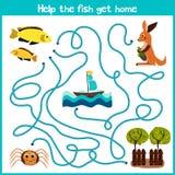 教育动画片将继续五颜六色的动物的逻辑方式家 帮助小的黄色鱼游泳家入海洋 向量例证
