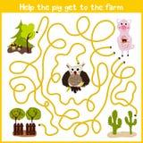 教育动画片将继续五颜六色的动物的逻辑方式家 帮助得到农场的一个逗人喜爱的桃红色猪家 配比的Gam 皇族释放例证