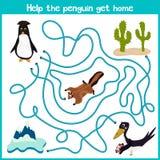 教育动画片将继续五颜六色的动物的逻辑方式家 帮助这只逗人喜爱的企鹅回到冷的Arcti的家 向量例证
