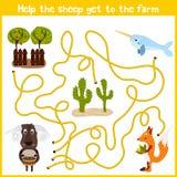 教育动画片将继续五颜六色的动物的逻辑方式家 帮助这只逗人喜爱的绵羊回到农业f的家 向量例证