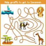 教育动画片将继续五颜六色的动物的逻辑方式家 帮助长颈鹿有家Sava的疆土 免版税库存照片