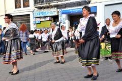教育单位的周年晚会在Otavalo,厄瓜多尔 免版税图库摄影