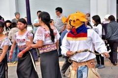 教育单位的周年晚会在Otavalo,厄瓜多尔 免版税库存图片