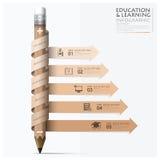 教育和学习步Infographic与螺旋箭头铅笔 免版税库存照片