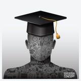 教育和学会与象元素的背景概念 免版税库存照片