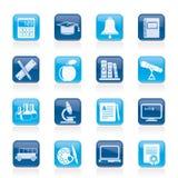 教育和学校对象图标 免版税图库摄影