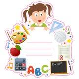 教育女孩书套框架 库存照片