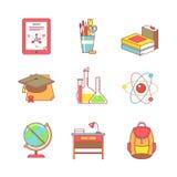 教育学会和学校稀薄排行被设置的象 免版税图库摄影