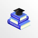 教育学术毕业盖帽和书传染媒介 免版税库存图片
