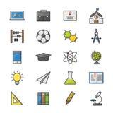 教育学校和科学颜色象被设置传染媒介例证样式五颜六色的平的象 库存照片