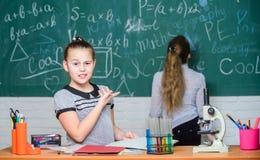教育实验 正规教育学校 r 学校课程 女孩在学校学习化学 免版税库存照片