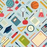 教育工具和供应在蓝色背景 库存图片