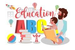 教育概念,爸爸读给他的儿子,漫画人物 免版税图库摄影