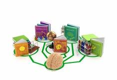 教育概念,脑子被连接到书线  库存例证