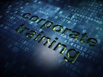 教育概念:在数字式屏幕背景的公司训练 免版税图库摄影