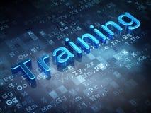 教育概念:在数字式背景的蓝色训练 免版税库存照片