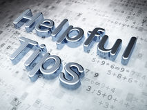 教育概念:在数字式背景的银色有用的技巧 免版税库存照片