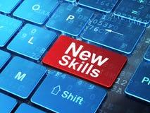 教育概念:在键盘背景的新的技能 免版税库存图片