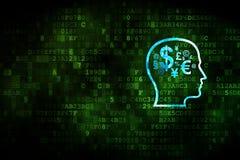 教育概念:有财务标志的头在数字式背景 免版税库存照片