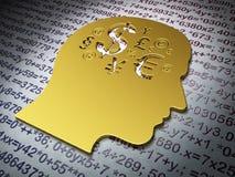 教育概念:有财务标志的金黄头在教育背景 免版税图库摄影
