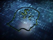 教育概念:朝向与在数字式屏幕背景的财务标志 免版税库存图片