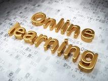 教育概念:金黄网上学会在数字式背景 库存照片