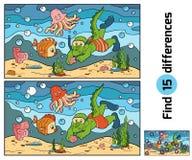 教育比赛:发现区别(鳄鱼潜水者,海底) 库存图片