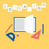 教育的平的设计例证概念 打开书、算术设备和文字文本工具 库存图片