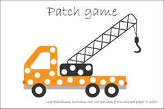教育补丁比赛开发的孩子的卡车起重机能运动技巧、用途彩色塑泥补丁、按钮、的彩纸或者的颜色 库存例证