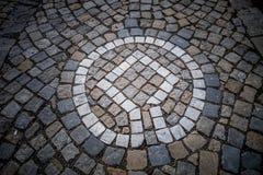 教育足迹标志-在TÅ™ebÃÄ 的犹太足迹 库存照片
