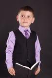 教育,教的孩子,孩子学会,学会,有书的孩子,衣服的孩子,一套衣服的孩子与领带,学会 库存图片