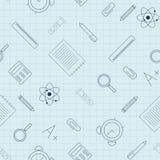 教育 与学校用品的无缝的样式在纸板料 向量例证