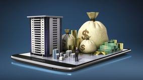 教育费用贷款,学校,拼贴画,在巧妙的电话,巧妙的垫的大学大厦,流动 (包括的阿尔法) 库存例证