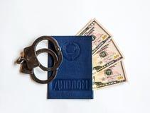 教育& x28证明; diploma& x29; 被投资的三denominat 免版税库存照片