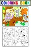 教训在一头猫头鹰的学校在上色的森林和颜色书的儿童动画片传染媒介例证的
