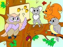 教训在一头猫头鹰的学校在森林上色儿童动画片传染媒介例证的书