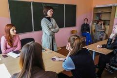 教训在俄国学校在卡卢加州地区 库存图片