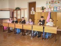教训在俄国学校在卡卢加州地区 免版税图库摄影