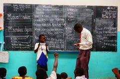 教训在学校,马拉维,非洲 免版税库存图片