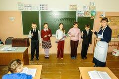 教训在小学在卡卢加州地区(俄罗斯) 免版税图库摄影