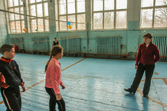 教训在小学在卡卢加州地区(俄罗斯) 免版税库存照片