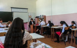 教训在小学在卡卢加州地区(俄罗斯) 库存照片