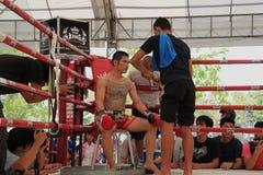 教练员提建议泰国拳击手 库存照片